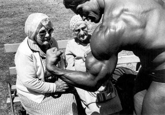 arnold muscle old lady