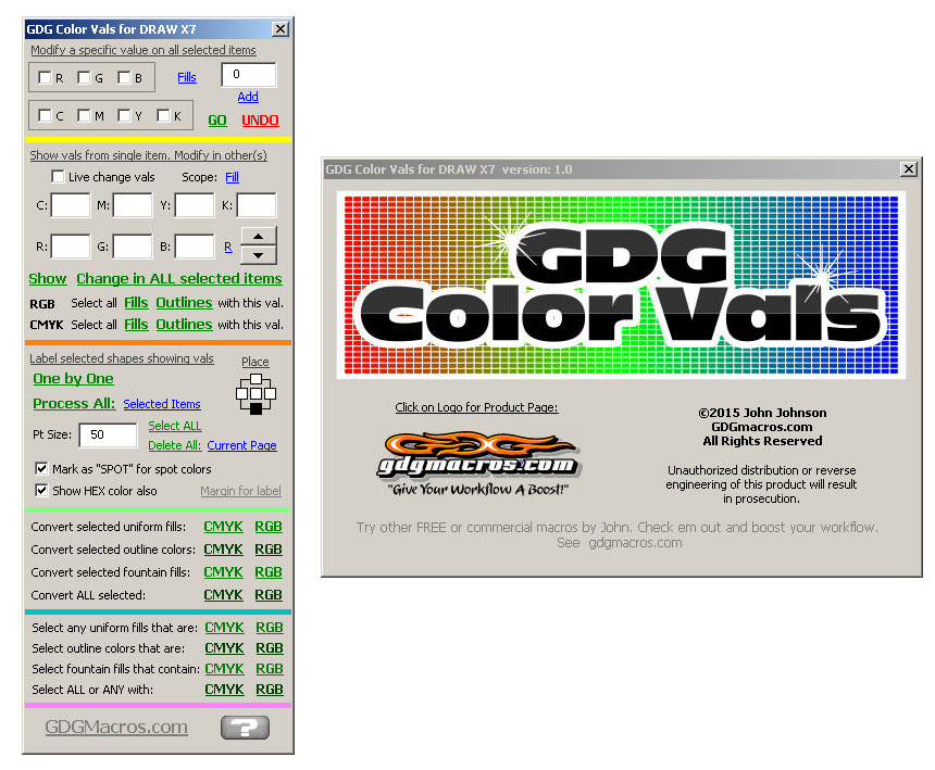 change rgb cmyk color values in a coreldraw v.2019 macro