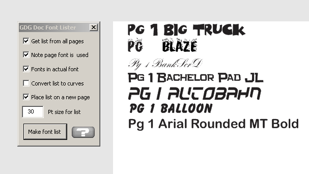 document font list macro shown working