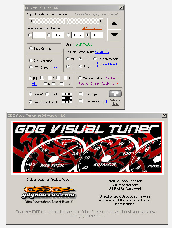 visual tuner macro for corel draw form image